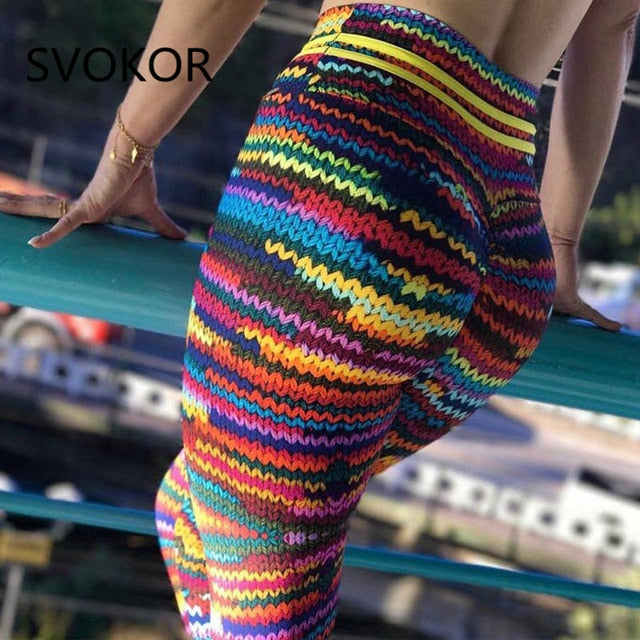 SVOKOR Push Up Women's Legging Knitting Polyester Ankle-Length Jeggings Stretching Novel Print High Waist Gilr Legging Fitness