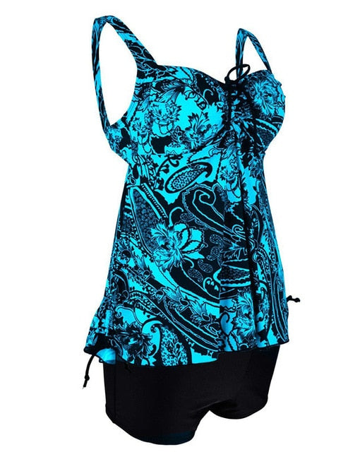 Plus Size Swimwear Women Swimsuit Sexy Tankini Set Two-piece Suits Swirly Paisley Print Padded Bandage Bathing Suit Swimdress-hipnfly-green-12-hipnfly