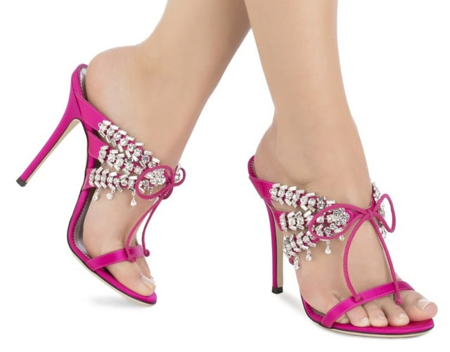 Summer New Brand Women Sexy Hot Pink/Black/Blue Satin Crystal Self-tie 115 mm Stiletto Heel Sandals Slip On Lace Up Party Shoes-hipnfly-as picture 1-6-hipnfly