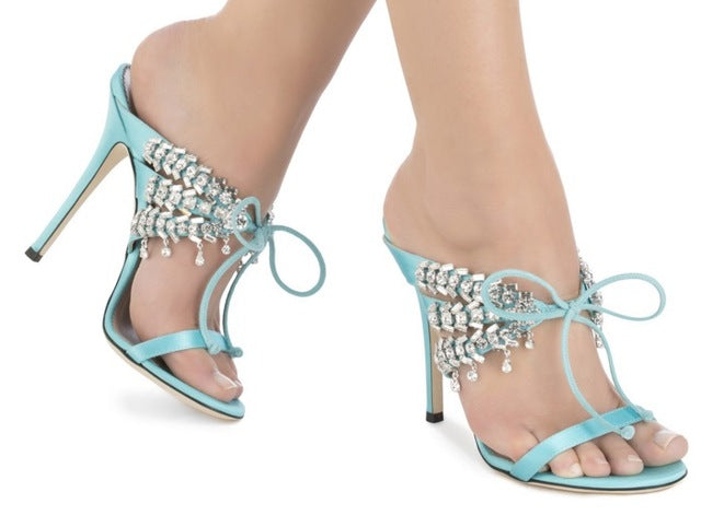 Summer New Brand Women Sexy Hot Pink/Black/Blue Satin Crystal Self-tie 115 mm Stiletto Heel Sandals Slip On Lace Up Party Shoes-hipnfly-as picture-6-hipnfly