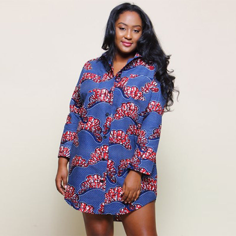 Plus size Vintage African print Shirt Dress Women Turn-down Collar short Sleeve Loose Tunic Summer Button Up Clothes for Female-hipnfly-hipnfly