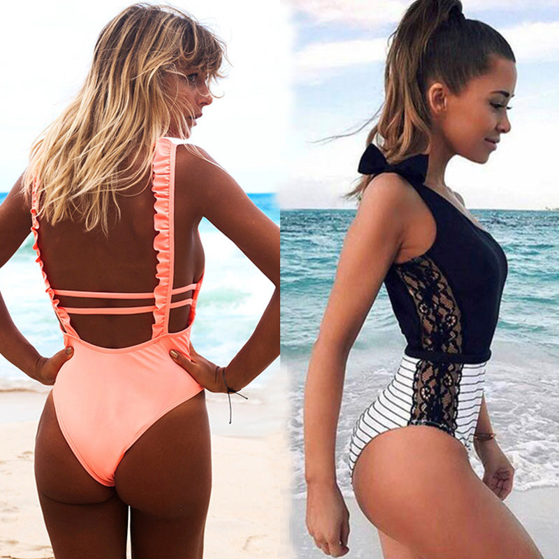 Sexy One Piece Swimsuit Women 2018 Summer Beachwear Lace One Shoulder Swimwear Bathing Suits Bodysuit Monokini Swimsuit-hipnfly-hipnfly