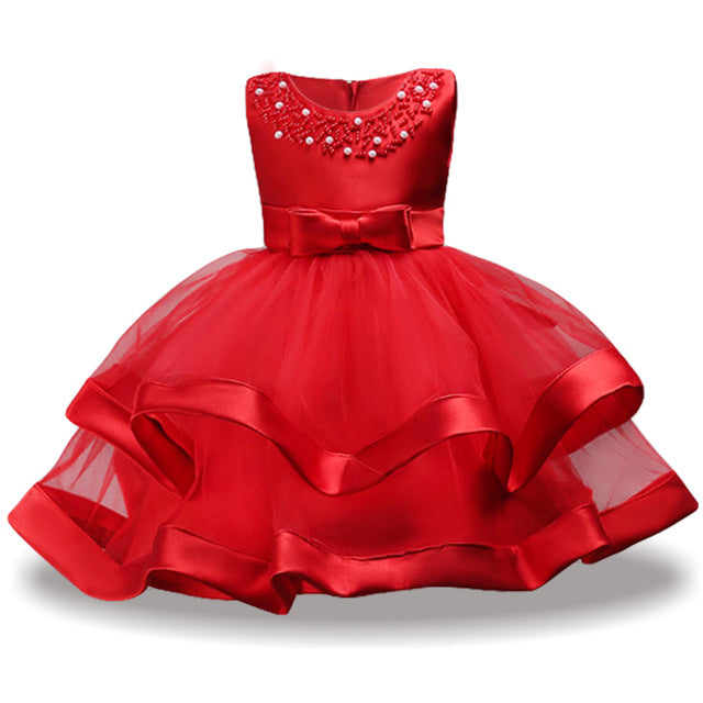 Children Costume Princess Dress For Girls Party Dresses Elegant Kids Wedding Gown Flower Girls Dress 2018 Summer Girls Clothing-hipnfly-Red-3T-hipnfly