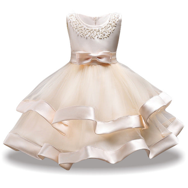 Children Costume Princess Dress For Girls Party Dresses Elegant Kids Wedding Gown Flower Girls Dress 2018 Summer Girls Clothing-hipnfly-Champagne-3T-hipnfly