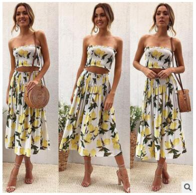 Women fold print 2 piece set summer for female women tube tops crop top two piece set skirt sexy backless two piece set summer-hipnfly-01-S-hipnfly