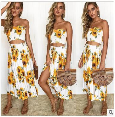 Women fold print 2 piece set summer for female women tube tops crop top two piece set skirt sexy backless two piece set summer-hipnfly-02-S-hipnfly