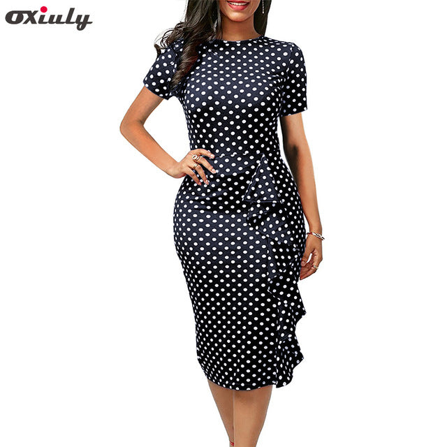 Oxiuly Polka Dot Dress Women Summer Casual Bodycon Sexy Ruffle Elegant Midi Club Party Dresses Plus Size 4XL Vestidos De Festa-hipnfly-Dark blue Dot-S-hipnfly