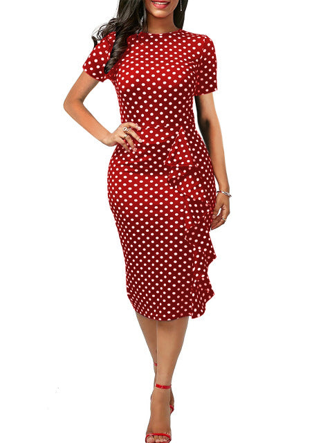 Oxiuly Polka Dot Dress Women Summer Casual Bodycon Sexy Ruffle Elegant Midi Club Party Dresses Plus Size 4XL Vestidos De Festa-hipnfly-Red dot-S-hipnfly