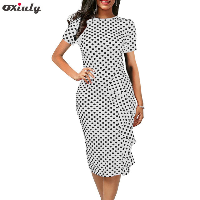 Oxiuly Polka Dot Dress Women Summer Casual Bodycon Sexy Ruffle Elegant Midi Club Party Dresses Plus Size 4XL Vestidos De Festa