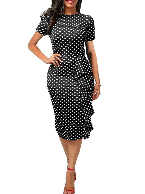 Oxiuly Polka Dot Dress Women Summer Casual Bodycon Sexy Ruffle Elegant Midi Club Party Dresses Plus Size 4XL Vestidos De Festa-hipnfly-Black dot-S-hipnfly