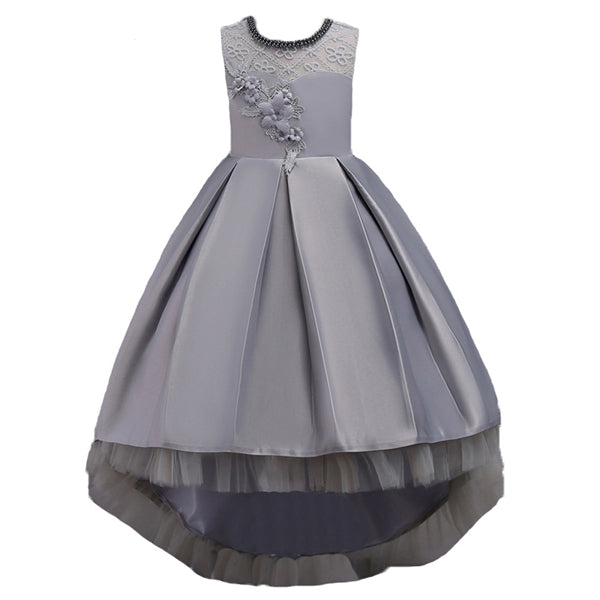 New Brand Flower Girls Dress Kids Princess Party Wedding Gowns for Children Graduation Ceremony Baby Kids Long Tail Formal Wear-hipnfly-Color 16-4T-hipnfly