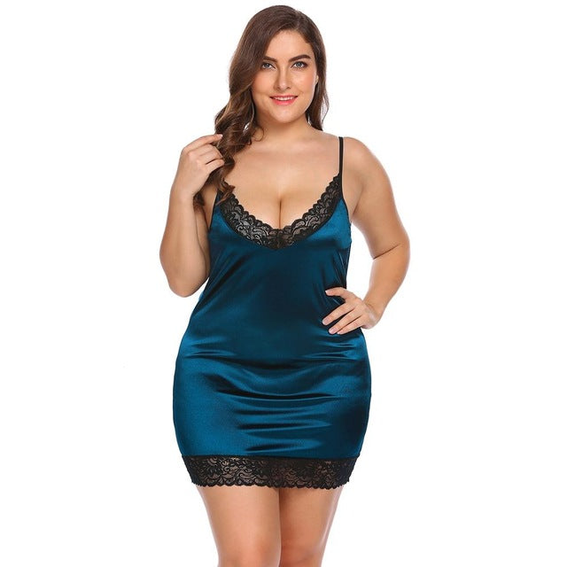IN'VOLAND Plus Size Women Sleepwear Sexy Lingerie Dress XL-5XL Robe Night Dress Lace Stretchy Satin Babydoll Chemise Nightgown-hipnfly-Lake Blue-XL-China-hipnfly