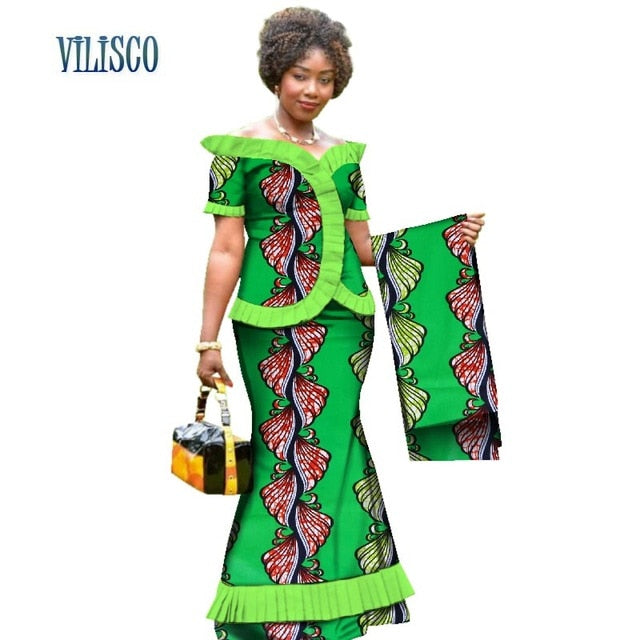 New Vintage African Clothes Draped Tops and Skirt Sets with Head Wrap for Women Bazin African 2 Piece Skirt Sets Clothing WY3171-hipnfly-1-XS-hipnfly