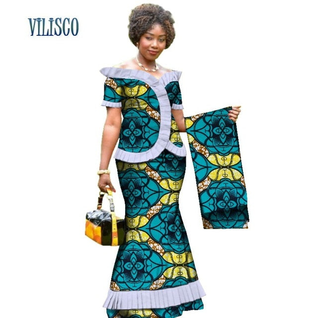 New Vintage African Clothes Draped Tops and Skirt Sets with Head Wrap for Women Bazin African 2 Piece Skirt Sets Clothing WY3171-hipnfly-2-XS-hipnfly
