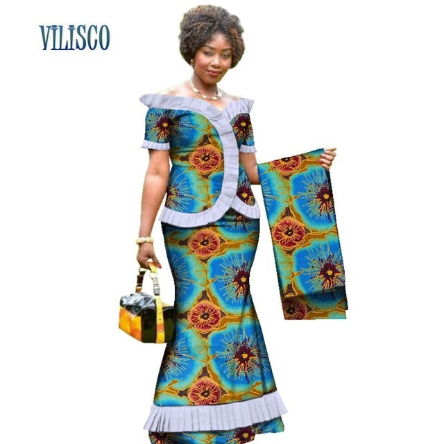 New Vintage African Clothes Draped Tops and Skirt Sets with Head Wrap for Women Bazin African 2 Piece Skirt Sets Clothing WY3171-hipnfly-6-XS-hipnfly