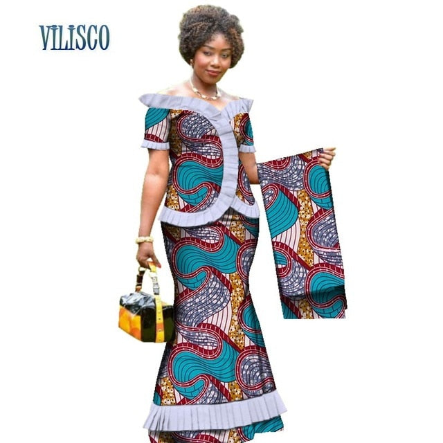 New Vintage African Clothes Draped Tops and Skirt Sets with Head Wrap for Women Bazin African 2 Piece Skirt Sets Clothing WY3171-hipnfly-8-XS-hipnfly