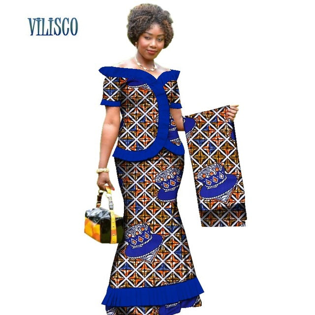 New Vintage African Clothes Draped Tops and Skirt Sets with Head Wrap for Women Bazin African 2 Piece Skirt Sets Clothing WY3171-hipnfly-12-XS-hipnfly