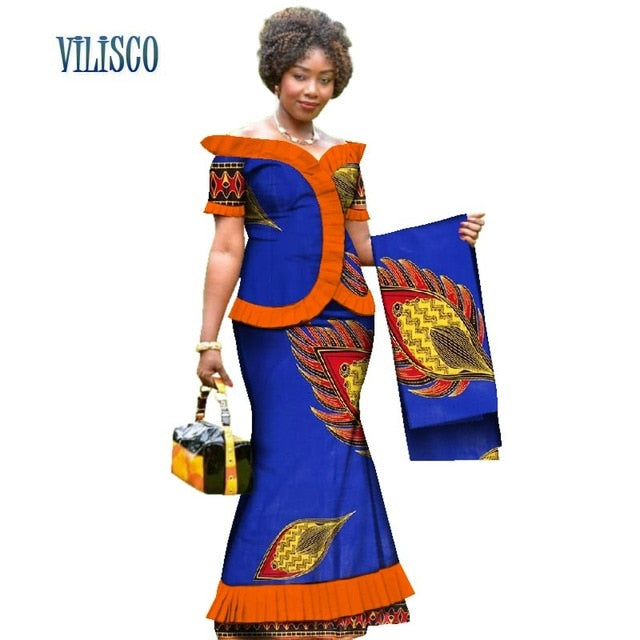 New Vintage African Clothes Draped Tops and Skirt Sets with Head Wrap for Women Bazin African 2 Piece Skirt Sets Clothing WY3171-hipnfly-hipnfly