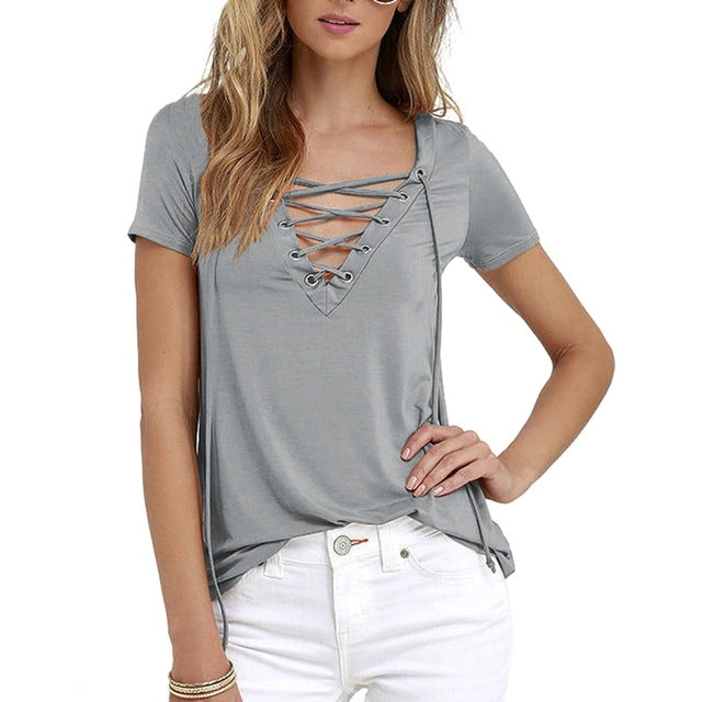 Laamei Women Blusas 2018 Summer Oversize Sexy V Neck Shirts Short Sleeve Casual Hollow Out Lace Up Shirts Plus Size 5XL Tee Tops-hipnfly-gray-S-hipnfly