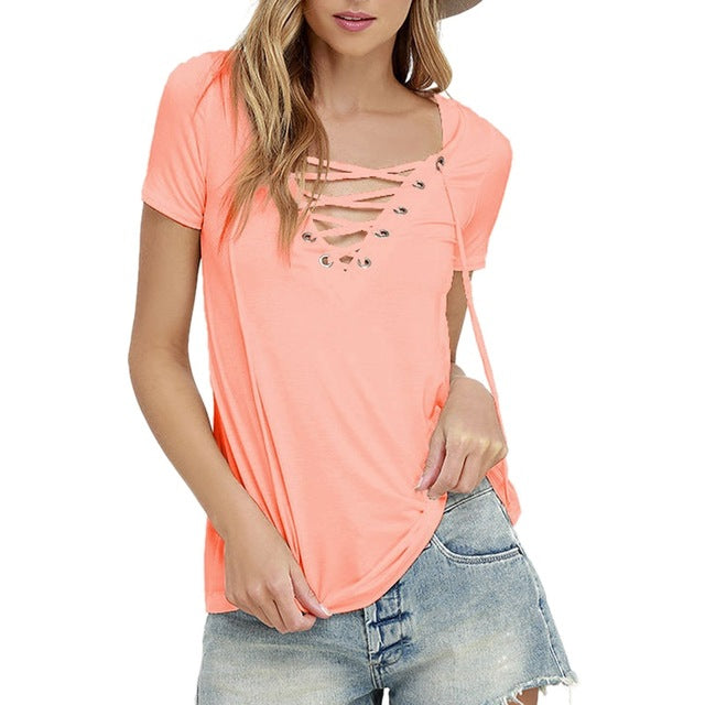 Laamei Women Blusas 2018 Summer Oversize Sexy V Neck Shirts Short Sleeve Casual Hollow Out Lace Up Shirts Plus Size 5XL Tee Tops-hipnfly-pink-S-hipnfly