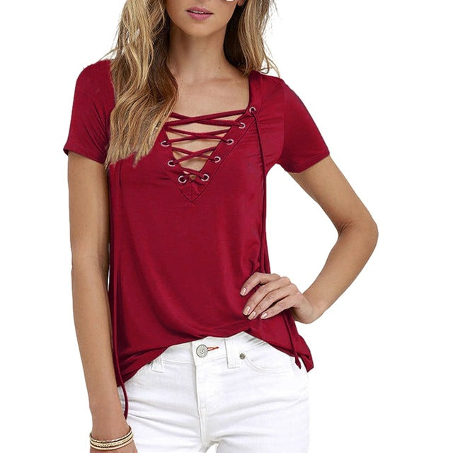 Laamei Women Blusas 2018 Summer Oversize Sexy V Neck Shirts Short Sleeve Casual Hollow Out Lace Up Shirts Plus Size 5XL Tee Tops-hipnfly-wine red-S-hipnfly