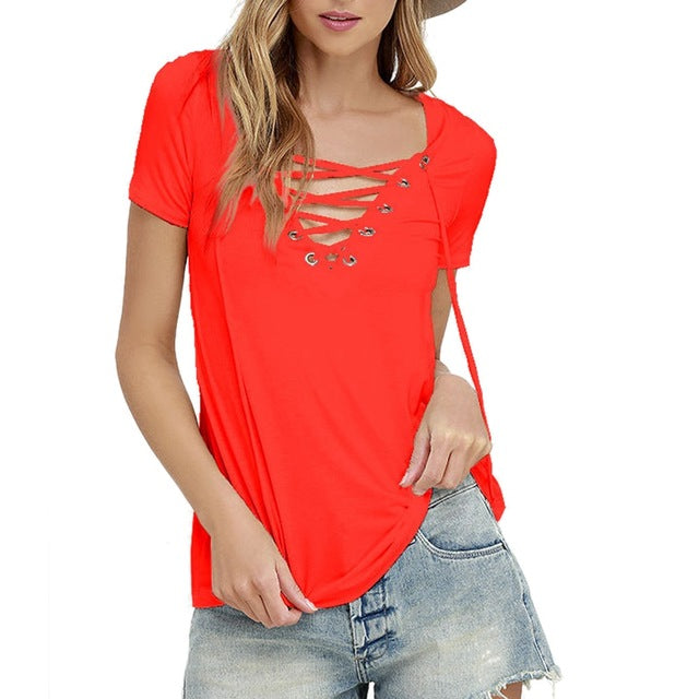 Laamei Women Blusas 2018 Summer Oversize Sexy V Neck Shirts Short Sleeve Casual Hollow Out Lace Up Shirts Plus Size 5XL Tee Tops