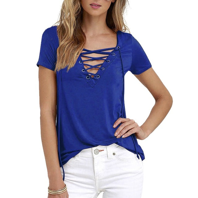 Laamei Women Blusas 2018 Summer Oversize Sexy V Neck Shirts Short Sleeve Casual Hollow Out Lace Up Shirts Plus Size 5XL Tee Tops-hipnfly-royal blue-S-hipnfly