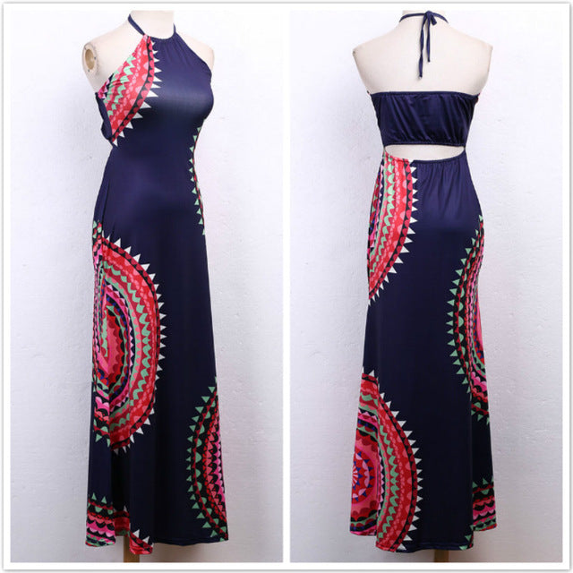 Vestidos Ladies Sleeveless Dresses Women 2016 Summer New Beach Casual Vintage Print A Line Split Maxi Dress Plus Size S-3XL-hipnfly-Blue-S-hipnfly