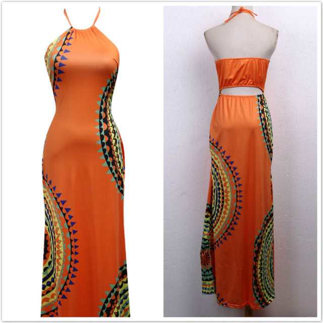 Vestidos Ladies Sleeveless Dresses Women 2016 Summer New Beach Casual Vintage Print A Line Split Maxi Dress Plus Size S-3XL-hipnfly-Orange-XL-hipnfly