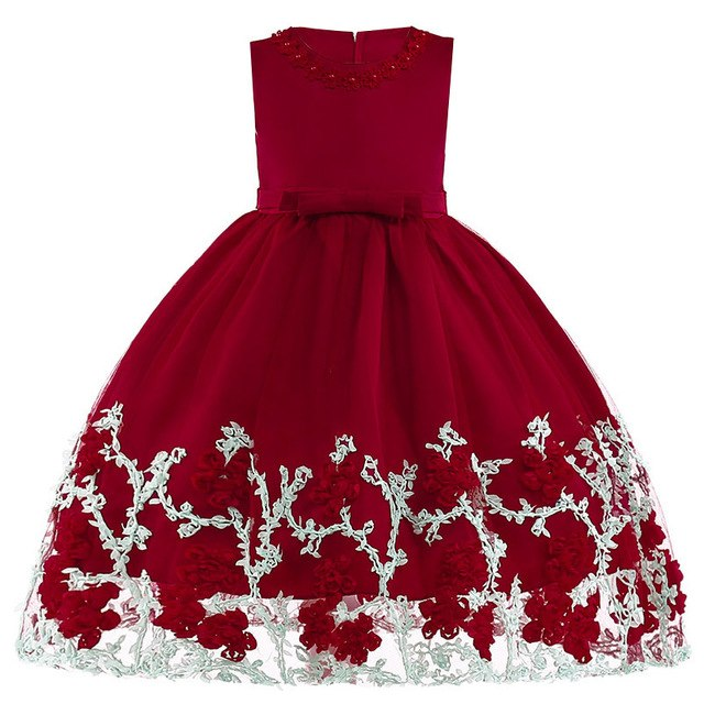 Girls Dress Elegant Summer Beach Dresses For Kids Clothes Vestidos Princess Dress For Girls Children Clothing 3 4 5 6 7 8 Years-hipnfly-Wine red 1-3T-hipnfly