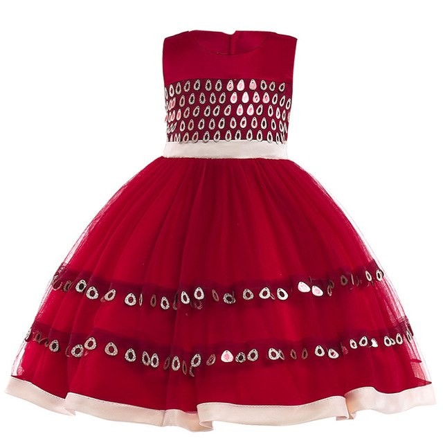 Girls Dress Elegant Summer Beach Dresses For Kids Clothes Vestidos Princess Dress For Girls Children Clothing 3 4 5 6 7 8 Years-hipnfly-Wine red-3T-hipnfly