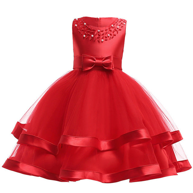 Girls Dress Elegant Summer Beach Dresses For Kids Clothes Vestidos Princess Dress For Girls Children Clothing 3 4 5 6 7 8 Years-hipnfly-Red-3T-hipnfly