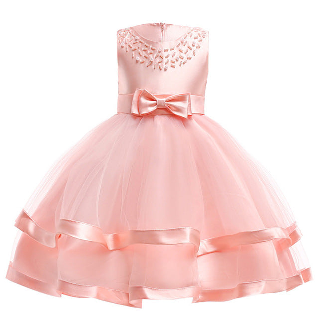 Girls Dress Elegant Summer Beach Dresses For Kids Clothes Vestidos Princess Dress For Girls Children Clothing 3 4 5 6 7 8 Years-hipnfly-Pink-3T-hipnfly