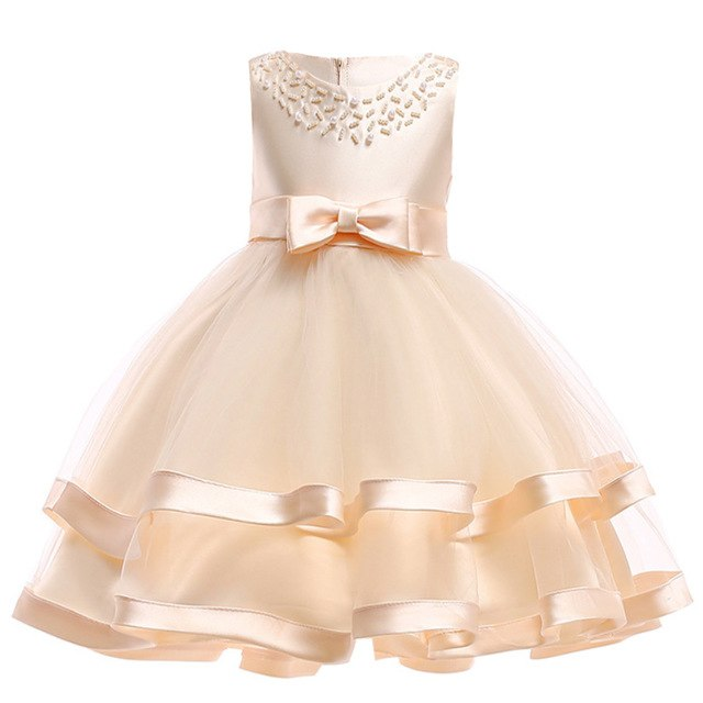 Girls Dress Elegant Summer Beach Dresses For Kids Clothes Vestidos Princess Dress For Girls Children Clothing 3 4 5 6 7 8 Years-hipnfly-Champagne-3T-hipnfly