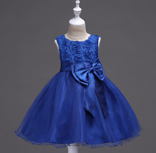 Cotton Lining Baby Girls Dress For Girls Wedding Party Dresses Kids Princess Summer Dress Children Girls Clothing Age 2-10 T-hipnfly-blue-3T-hipnfly