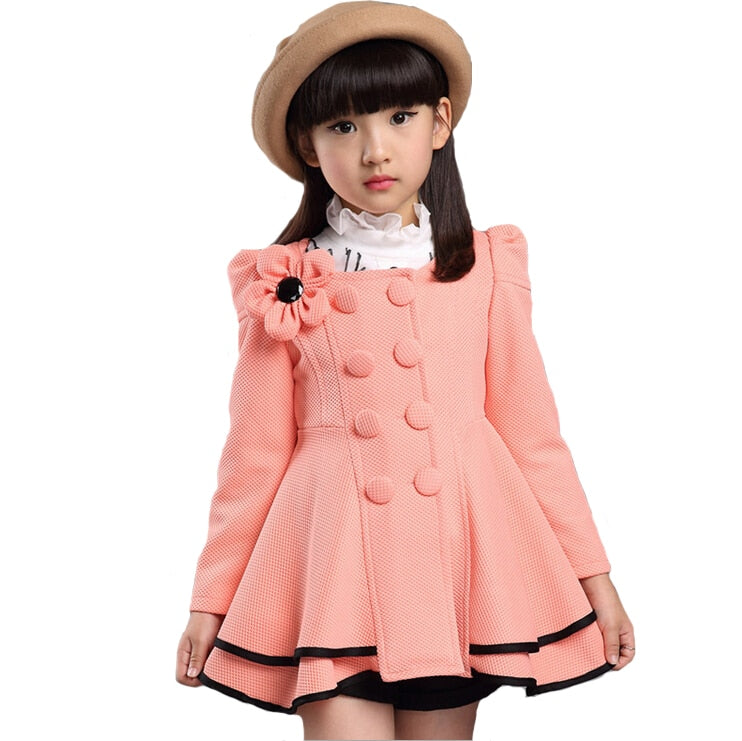 High quality girl Coat fashion Flower Jacket coat for girl Autumn winter outerwear girls Clothes 4-12 years old