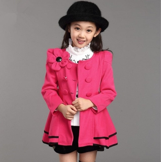 High quality girl Coat fashion Flower Jacket coat for girl Autumn winter outerwear girls Clothes 4-12 years old-hipnfly-as picture 2-4T-hipnfly
