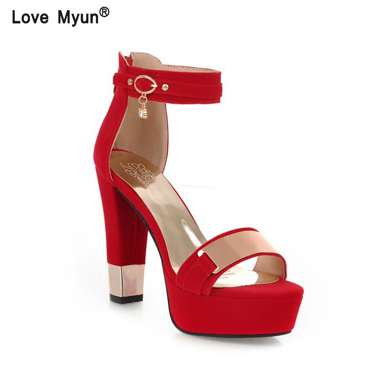 Women High Heels Sandals Summer Square Heels Crystal Heeled Platform Shoes Ladies Sexy Party Wedding Shoes 558