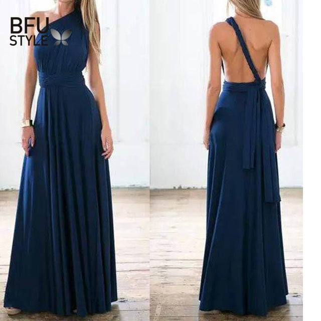 Sexy Long Dress Bridesmaid Formal Multi Way Wrap Convertible Infinity Maxi Dress Navy Blue Hollow Out Party Bandage Vestidos-hipnfly-blue dress-L-hipnfly