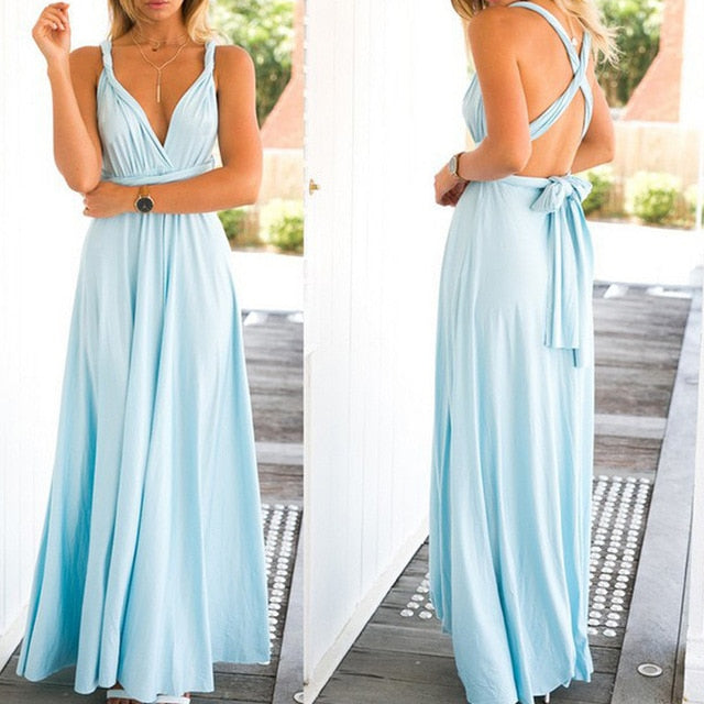 Sexy Long Dress Bridesmaid Formal Multi Way Wrap Convertible Infinity Maxi Dress Navy Blue Hollow Out Party Bandage Vestidos-hipnfly-sexy dress-L-hipnfly