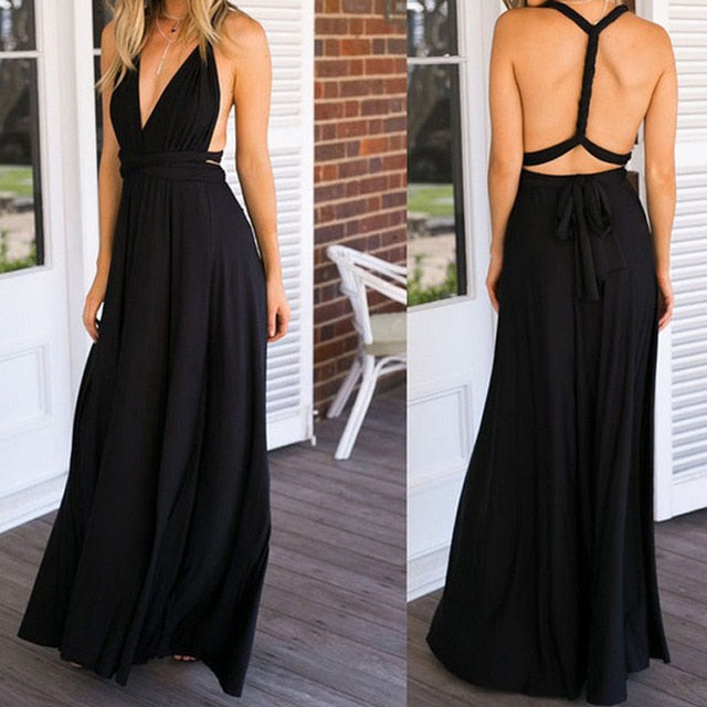Sexy Long Dress Bridesmaid Formal Multi Way Wrap Convertible Infinity Maxi Dress Navy Blue Hollow Out Party Bandage Vestidos-hipnfly-black dress-L-hipnfly