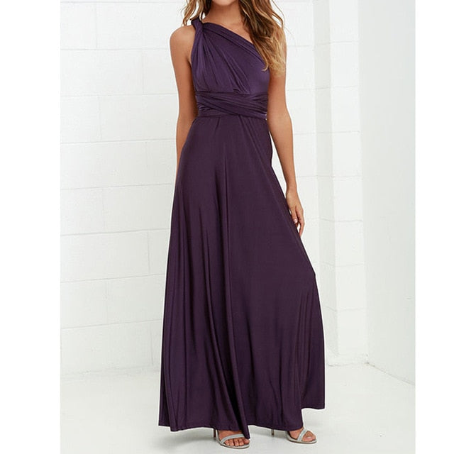 Sexy Long Dress Bridesmaid Formal Multi Way Wrap Convertible Infinity Maxi Dress Navy Blue Hollow Out Party Bandage Vestidos-hipnfly-beach dress-L-hipnfly