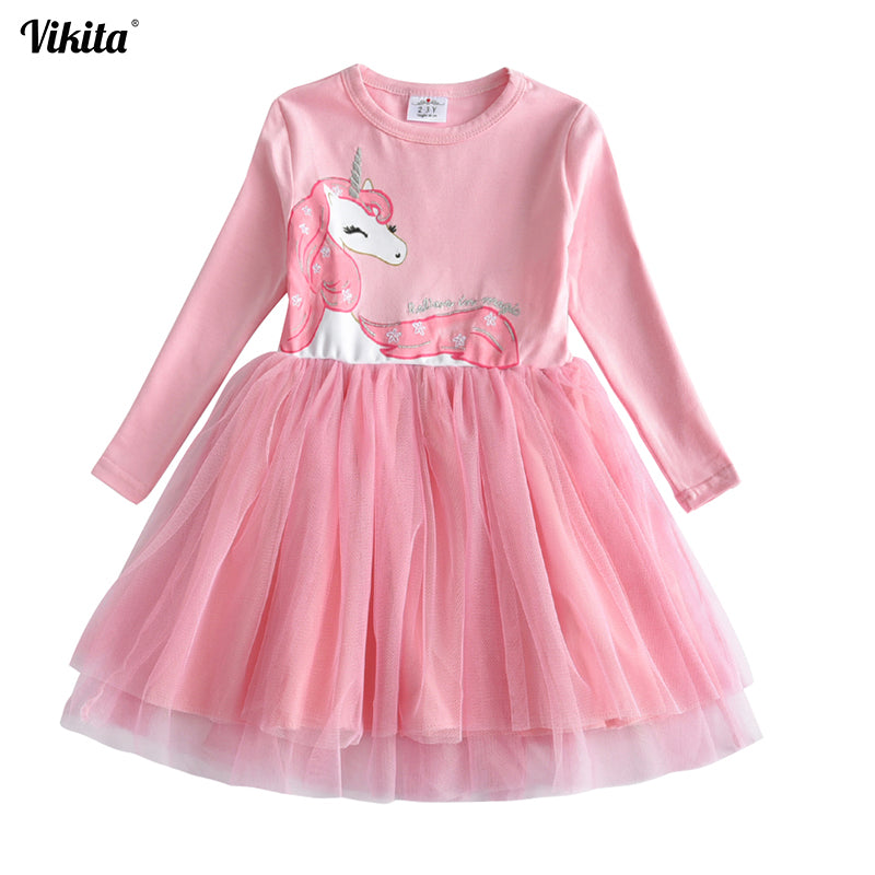 VIKITA Girls Dress Long Sleeve Kids Flower Dresses Children Unicorn Vestidos 2018 Girls Dresses Autumn Kids Dress For Girl-hipnfly-hipnfly