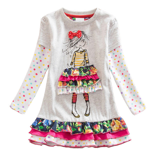 VIKITA Girls Dress Long Sleeve Kids Flower Dresses Children Unicorn Vestidos 2018 Girls Dresses Autumn Kids Dress For Girl-hipnfly-RELH3660GRAY-4-hipnfly