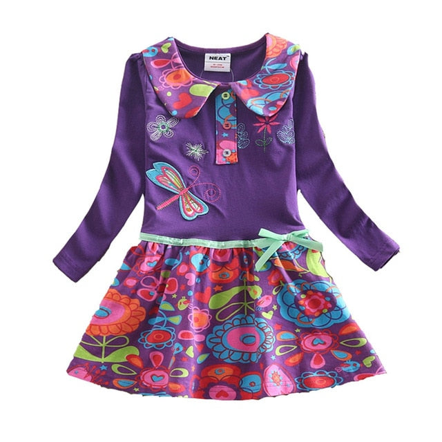 VIKITA Girls Dress Long Sleeve Kids Flower Dresses Children Unicorn Vestidos 2018 Girls Dresses Autumn Kids Dress For Girl-hipnfly-REL360PURPLE-2T-hipnfly