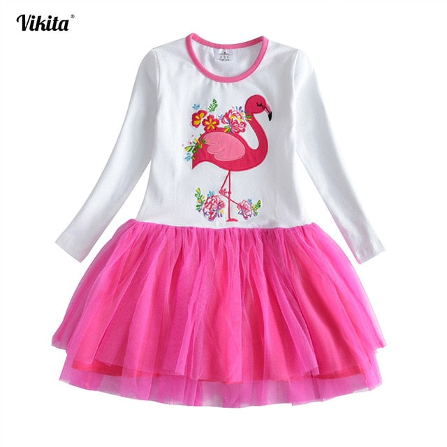 VIKITA Girls Dress Long Sleeve Kids Flower Dresses Children Unicorn Vestidos 2018 Girls Dresses Autumn Kids Dress For Girl-hipnfly-RELH4558-2T-hipnfly