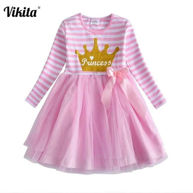 VIKITA Girls Dress Long Sleeve Kids Flower Dresses Children Unicorn Vestidos 2018 Girls Dresses Autumn Kids Dress For Girl-hipnfly-RELH4561-2T-hipnfly
