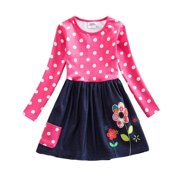 VIKITA Girls Dress Long Sleeve Kids Flower Dresses Children Unicorn Vestidos 2018 Girls Dresses Autumn Kids Dress For Girl-hipnfly-RELH5748FUCHSIA-4-hipnfly
