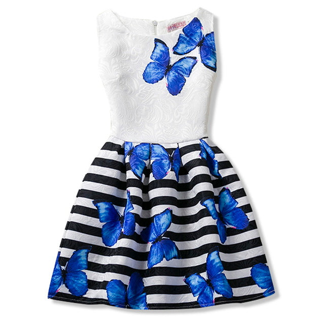 A-line Kids Dresses For Girls Clothing Print Butterflies Blue Teenager 2018 Casual Children Clothing Vestido Infantil 6 12 Years
