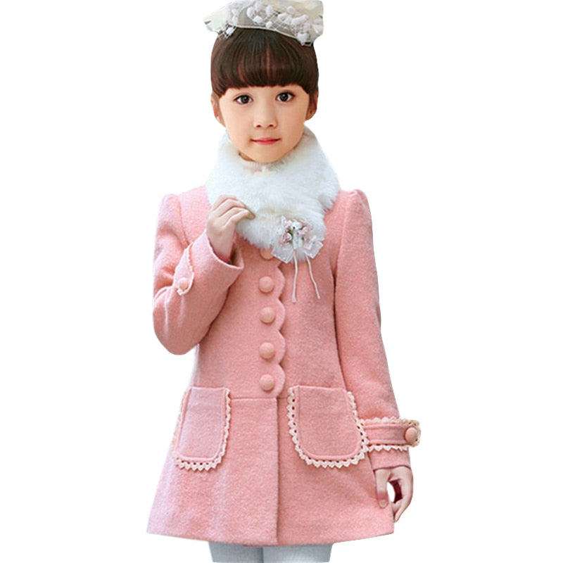Baby Girls Jacket 2018 Autumn Winter Jackets For Girls Wool Coat Kids Warm Outerwear Coats For Girls Clothes Children Jacket